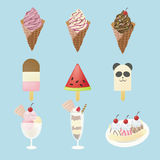 Fancy ice creams with 9 different look. Fancy ice creams  with 9 different look, design by vector Royalty Free Stock Photography