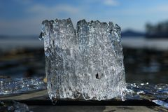 Fancy ice floe caught from a lake in spring stock photos
