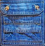 Fancy jeans pocket. Jeans pocket with yellow buttons, many decorative seams and little false pockets Royalty Free Stock Photos
