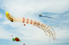 Fancy kites in Octopus shaped on cloudy blue sky Stock Photos