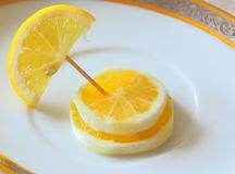 Fancy lemon, three slices. Royalty Free Stock Images
