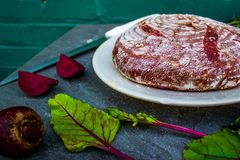 Fancy loaf of beet bread Royalty Free Stock Images