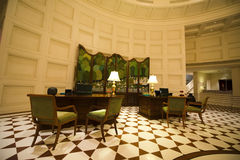 Fancy Lobby in a Luxury Resort Hotel. Fancy lobby and reception area at a plush luxury resort hotel. The room is a place that speaks class, class, and is ritzy Stock Photo