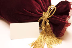 Fancy luxury gift bag with a card Royalty Free Stock Photo