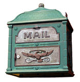 Fancy mailbox isolated. Fancy isolated mailbox with metal ornament Stock Photos