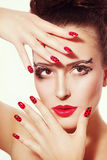 Fancy make-up and manicure Royalty Free Stock Image