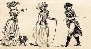 Fancy man and woman 18 century. royalty free illustration