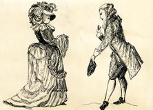 Fancy man and woman 18 century. Royalty Free Stock Images