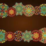 Fancy Mandalas At Abstract Frame. Abstract background with bright ethnic ornaments. Tribal ornate border. Copy space for your special text. Pattern for greeting Stock Photos