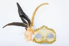 The Fancy mask,  accessories obscuring the face of the party. Stock Images