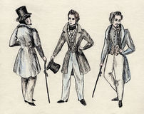 Fancy men 18 century Stock Photography