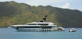 A fancy motor yacht at anchor in Admiralty Bay, Bequia Stock Image