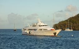 A fancy motor yacht at anchor in Admiralty Bay, Bequia Stock Images