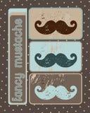 Fancy mustache. On retro background stock illustration