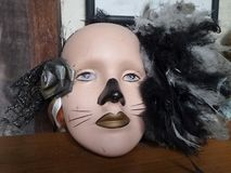 Fancy old doll face head for Masquerade Party Royalty Free Stock Photo