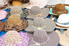 Fancy Panama Hats. For sale in the Old French Quarter of Panama City royalty free stock images