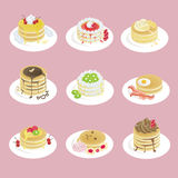 Fancy pancakes with 9 different look Royalty Free Stock Photos