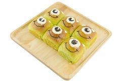 Fancy of pandan custard bread  Stock Photos