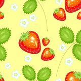 A fancy pattern. Ripe beautiful strawberries. Suitable as wallpaper in the kitchen, as a background for packing food, textiles in vector illustration
