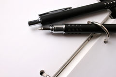 Fancy Pen Set. Fancy pen on a small file with white pages Stock Image