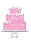 Fancy Pink Cake. With flowers, bows and embellishments on cake stand Royalty Free Stock Photography
