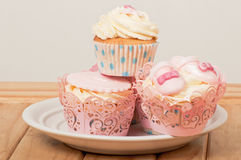 Fancy pink cupcakes Stock Image
