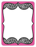 Fancy pink frame printout with black lace Royalty Free Stock Images