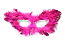 Fancy pink mask with feathers on white Royalty Free Stock Photography