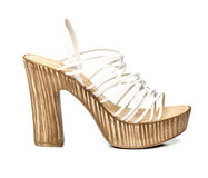 Fancy platform high heels with white and clear straps Royalty Free Stock Images
