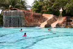 Fancy Pool. A view of the slides and children playing at a hotel in Malaysia Stock Image