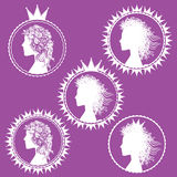 Fancy princess profile and royal symbols illustration Stock Images