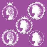 Fancy princess profile and royal symbols illustration Stock Images