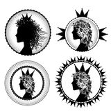 Fancy princess profile and royal symbols illustration Stock Photos