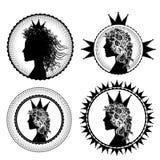 Fancy princess profile and royal symbols illustration Stock Photos