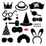 FANCY PROP. Fancy accessories for party are illustrated in black and white icons Royalty Free Stock Image