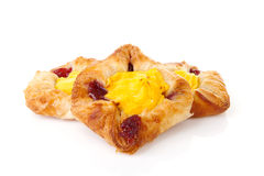 Fancy puff pastry with pudding and jam Royalty Free Stock Photography
