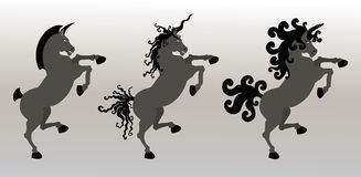 Fancy Rampant Unicorns Stock Photos