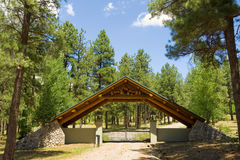 A fancy ranch gate in colorado stock images