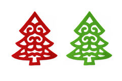 Fancy red and green felt Christmas tree. Isolated on a white background Stock Image