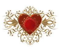 Fancy red heart illustration Royalty Free Stock Images
