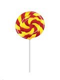 A fancy red and yellow candy lollipop Royalty Free Stock Photography