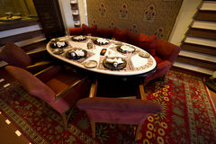 Fancy Restaurant Table in a Luxury Resort Hotel. Fancy restaurant table at a plush luxury resort hotel. the room is a place that speaks class, class, and is royalty free stock photography