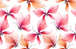 Fancy rosy and pink butterfly seamless pattern. Hand drawn illustration. watercolor artwork Royalty Free Stock Image