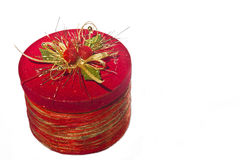 Fancy, round, Christmas box. Isolated, fancy Christmas box with decorated top Stock Image