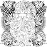 Fancy Santa on Christmas balls, wreath in zentangle style. Royalty Free Stock Photos
