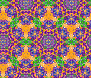 Fancy seamless pattern with beautiful decoration of blue, orange, green and violet colors Stock Photos