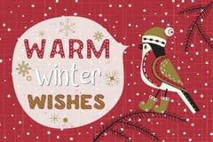 Fancy seasonal poster. Christmas Holiday decoration. Cute cartoon bird in hat on christmas tree. Fancy festive lettering Winter season wishes. Vector winter Stock Illustration