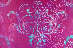 Fancy shabby damask patterned background. A lovely intricate  shabby chic damask patterned background in shades of pink and blue Stock Photography