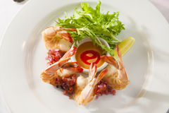 Fancy shrimp cocktail appetizer. Royalty Free Stock Photo