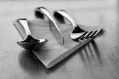 Fancy Silverware on Table and Napkin for Eating Stock Images